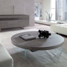 Bellagio - Tavolino trasformabile a due altezze, in metallo, piano in legno, disponibile in diverse misure e finiture