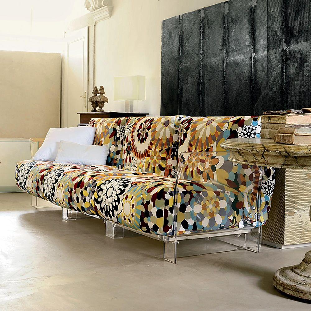 Pop missoni sofa divano kartell di design 2 o 3 posti con struttura in policarbonato e - Poltrone e sofa tessuti lavabili ...