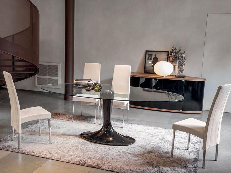 Imperial 8010 tavolo tonin casa in agglomerato di marmo - Tavolo di vetro ovale ...