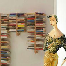 Zia Bice S - Libreria di design, fissata a parete, in legno massello, disponibile in diverse dimensioni e colori
