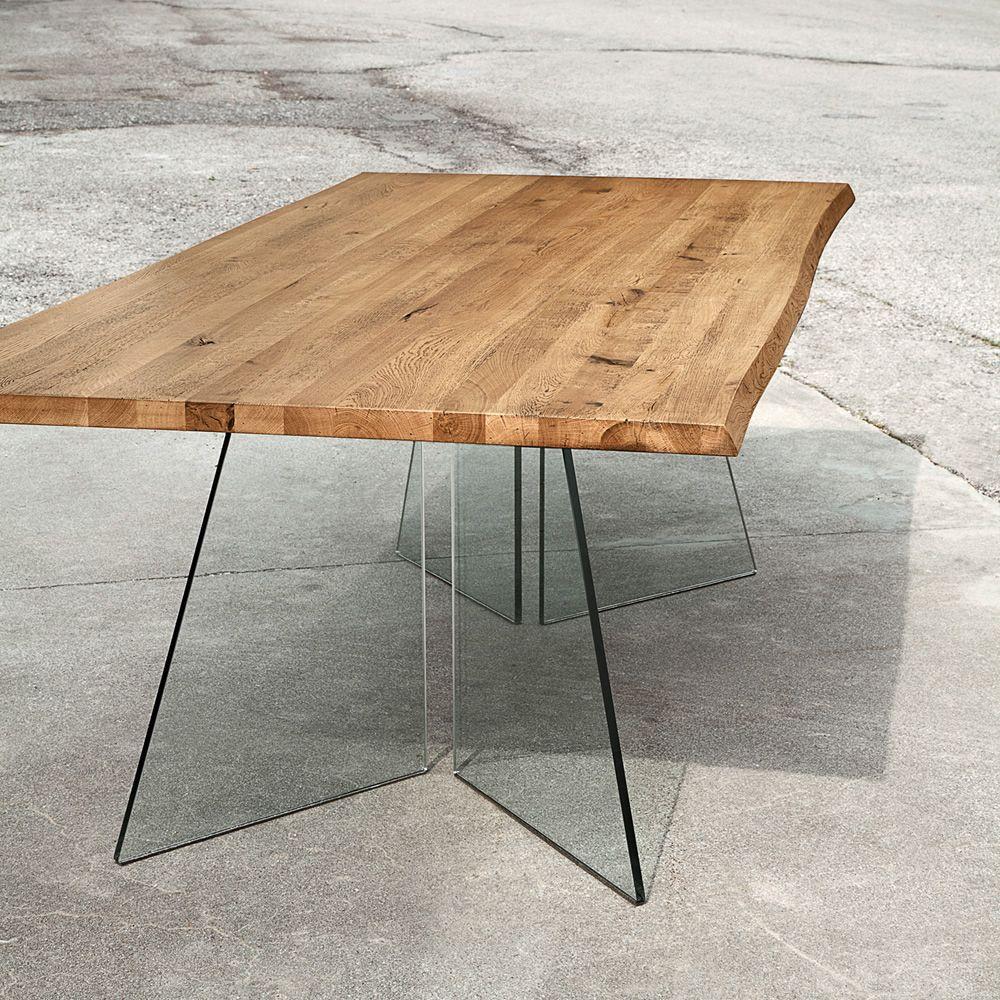 artik mesa fija en cristal con tapa en madera maciza de roble claro