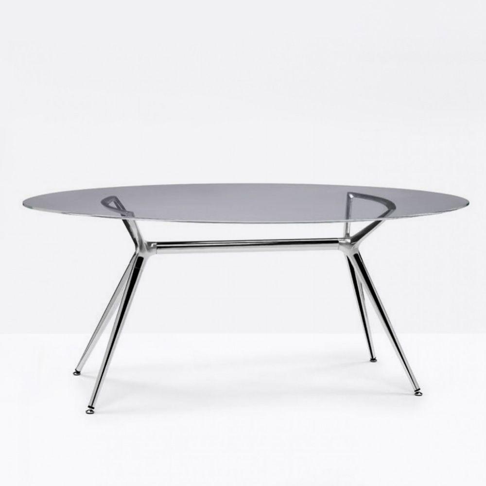Metropolis 2400 Table Moderne En Metal Avec Plan Ovale En Verre