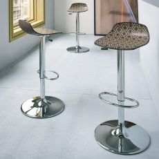 Alhambra SC - Metal stool with technopolymer seat, swivel and adjustable, available in different colours