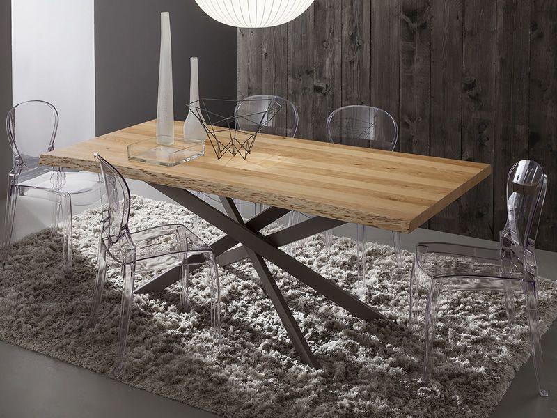 Pa126 table en m tal avec plateau 170x100 cm disponible - Plateau en chene ...