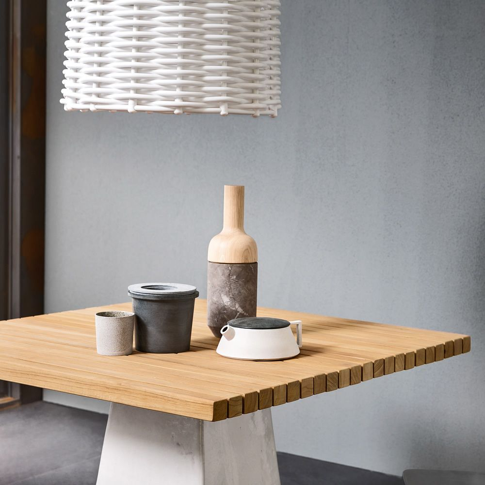Inout 35 Gervasoni Square Table In Ceramic With Wooden