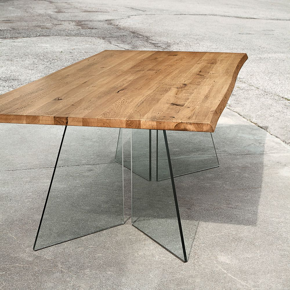 Coloured glass table tops - Artik Fixed Table Made Of Transparent Glass With Solid Wooden Top In Light Oak Colour