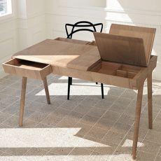 Metis - Scrivania di design in legno, dotata di cassetti e scompartimenti
