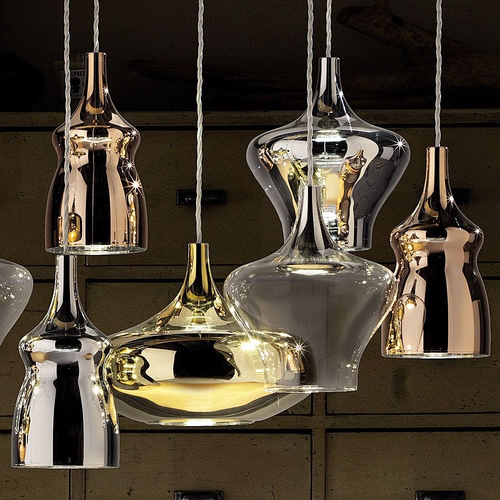 nostalgia designer pendellampe aus geblasenem glas led mit 3 lampen unterschiedlicher form. Black Bedroom Furniture Sets. Home Design Ideas
