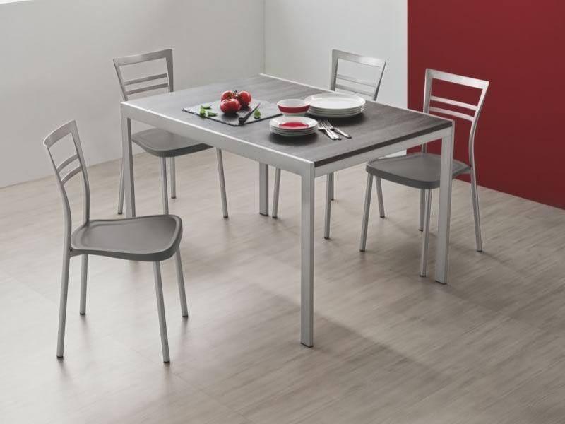 742 2 table en m tal plateau 70x110 cm rallonge for Tavolo calligaris 70x110