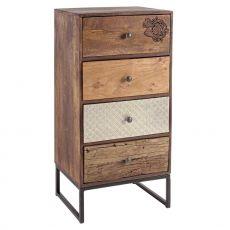 Abuja 4C - Commode vintage, en bois avec des jambes de fer, avec quatre tiroirs