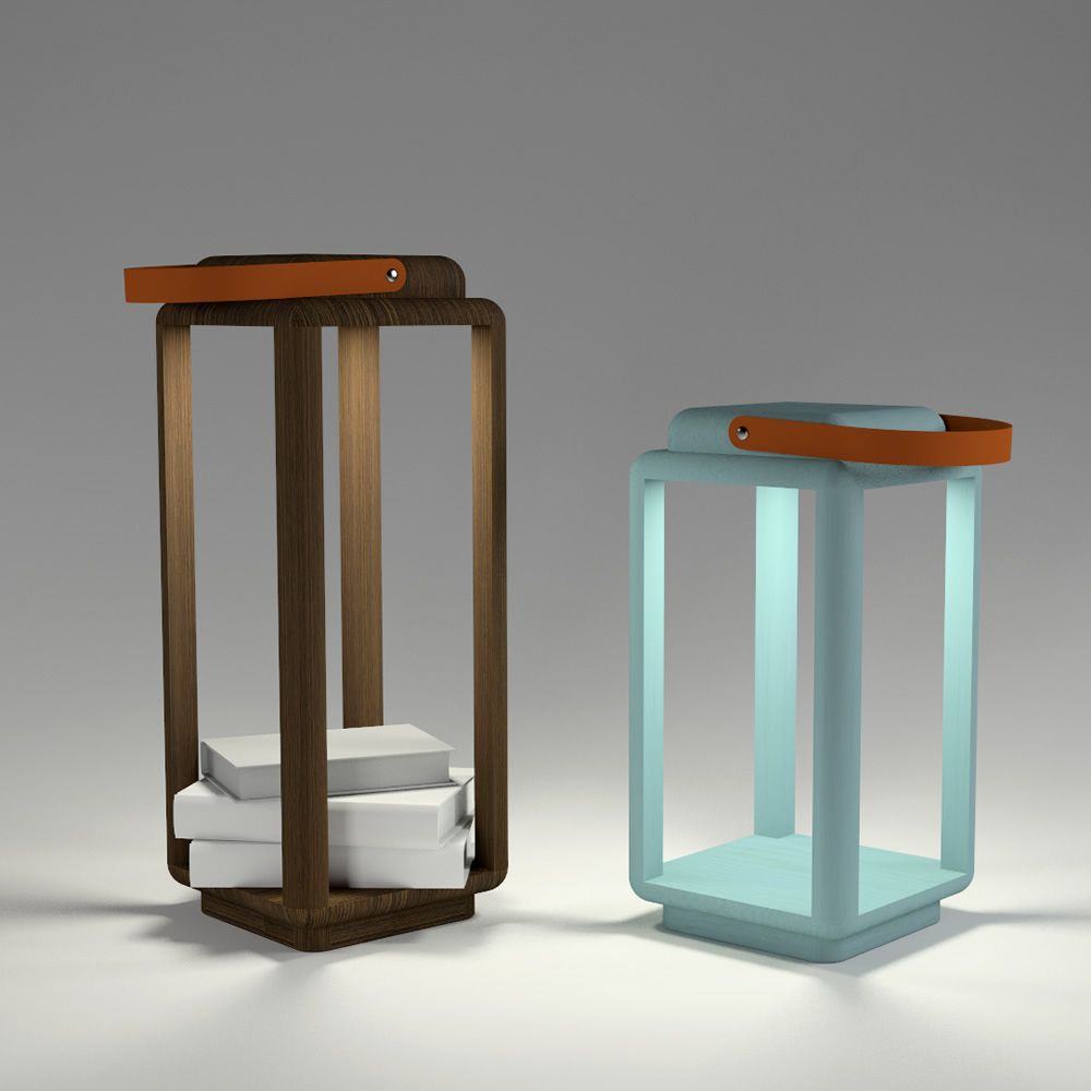 Nauset lampada lanterna valsecchi in legno con luce led for Le piu belle lampade da tavolo