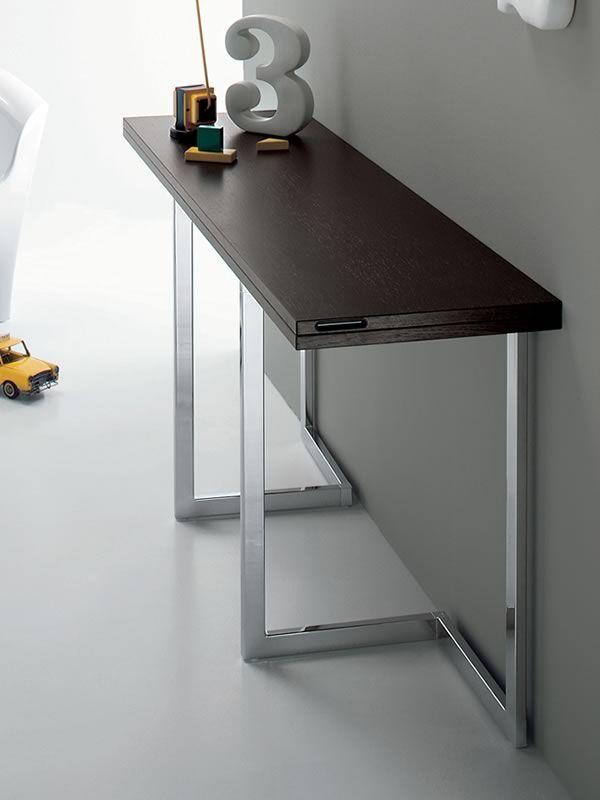 afrodite in esstisch verwandelbare konsole mit untergestell aus metall und holzplatte in. Black Bedroom Furniture Sets. Home Design Ideas
