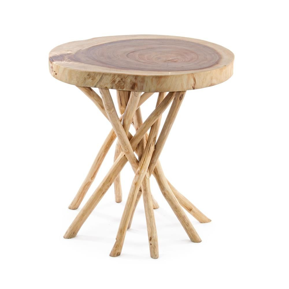 Table basse design bois naturel teck lounge for Pietement de table en bois