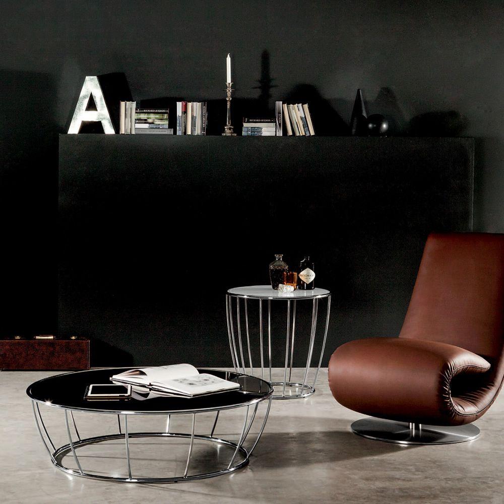 amburgo 6285 table basse ronde tonin en m tal plateau en verre diam tre 55 cm sediarreda. Black Bedroom Furniture Sets. Home Design Ideas
