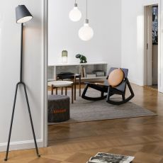 Mañana - Floor lamp made of metal, white or dark grey lacquered, adjustable lampshade
