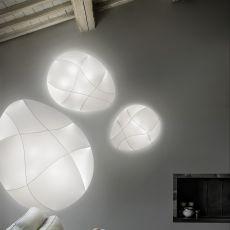 Millo - Lámpara de techo o de pared de diseño, en metal y tejido, disponible en distintos tamaños