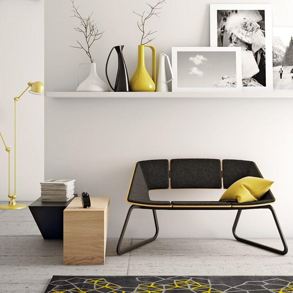 hug sofa canap infiniti en m tal assise et dossier en bois avec rev tement sediarreda. Black Bedroom Furniture Sets. Home Design Ideas