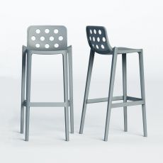 Isidoro - High stool in metal and polymer, stackable, seat's height 66 or 76 cm, available in different colours, also for outdoor