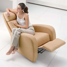 Dhyana - Relax modern manual armchair, in fabric, artificial leather or leather