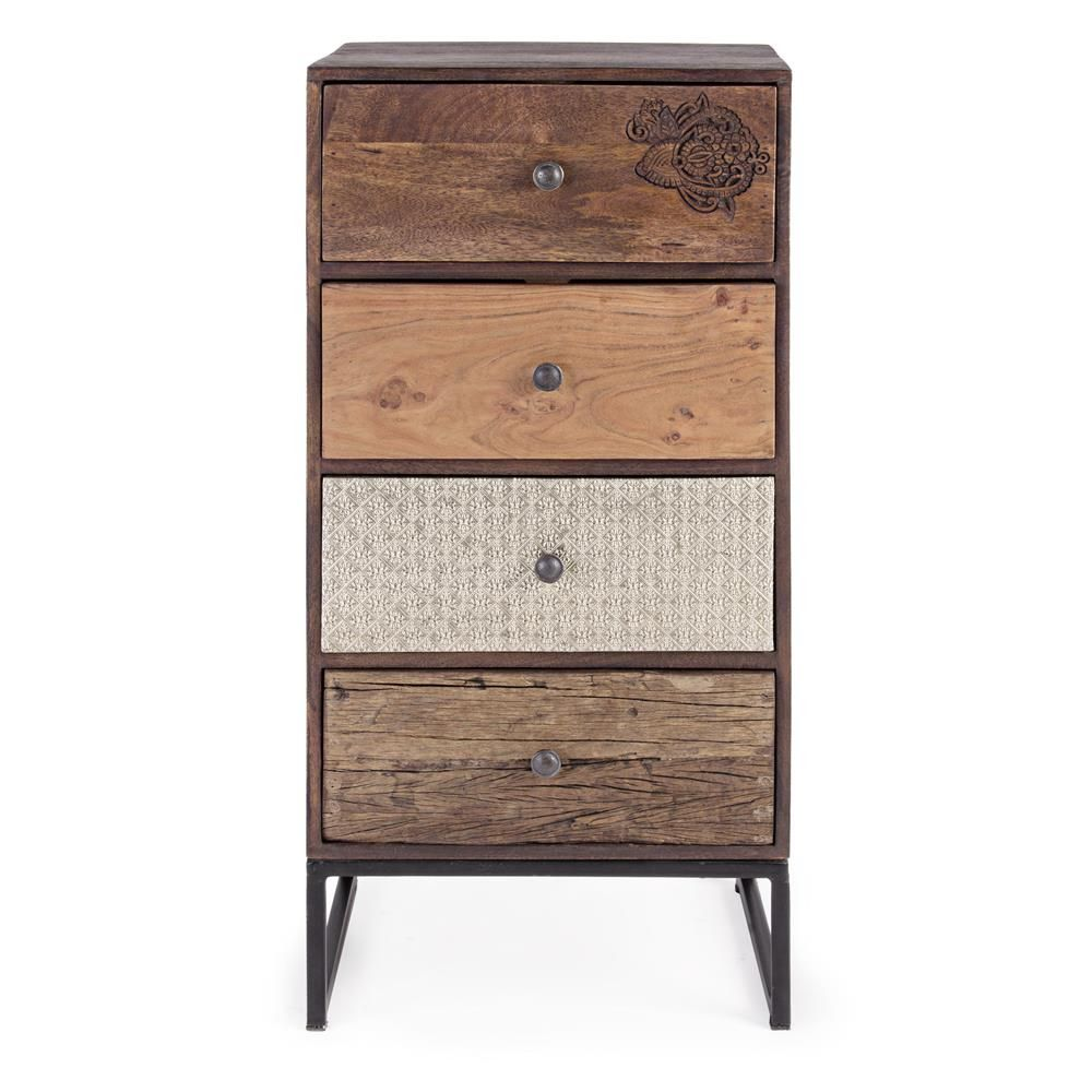 abuja 4c commode vintage en bois avec pi tement en fer. Black Bedroom Furniture Sets. Home Design Ideas