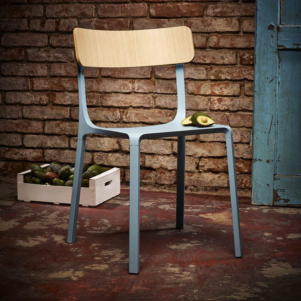 Ruelle   Stackable Chair Made Of Light Blue Lacquered Aluminium, Backrest  In Natural Oak Plywood