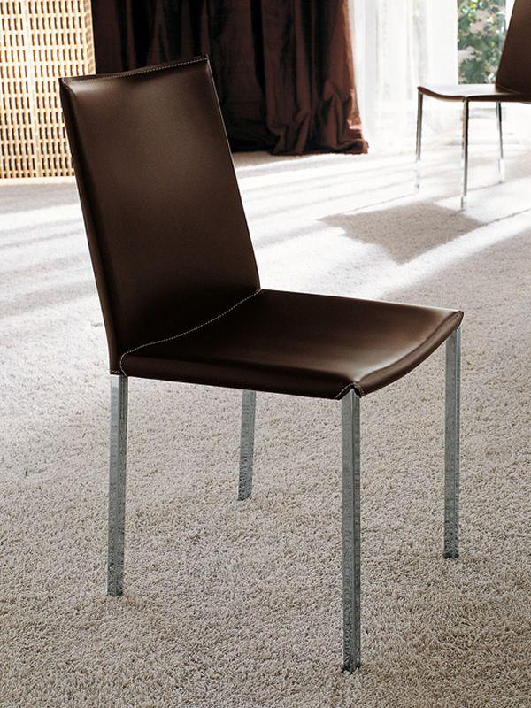 Palma - Sedia Midj in metallo con seduta in rigenerato di cuoio ...