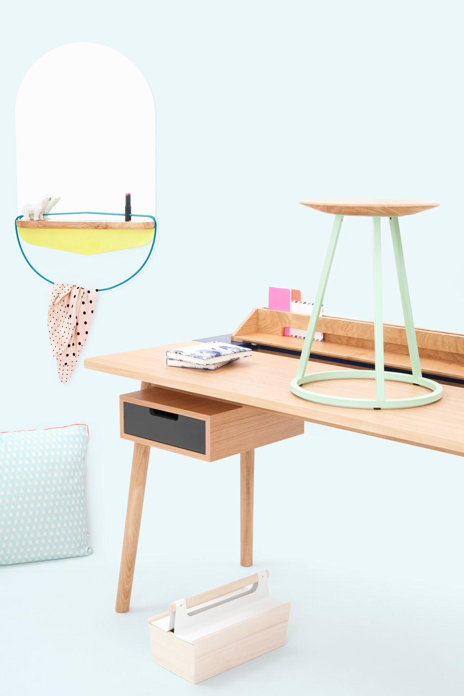 Honor bureau design en bois et mdf avec tiroirs et for Petit bureau avec tiroir