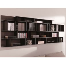 Byblos O - Modular wall bookcase in wood, available in several colours
