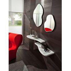 PA305 - Ingresso moderno completo di mensole, specchi e appendini, disponibile in diversi colori