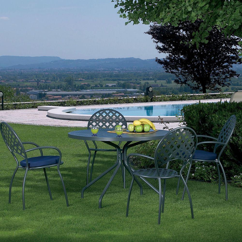 Rig tavolo in metallo, diversi colori, per giardino, piano rotondo