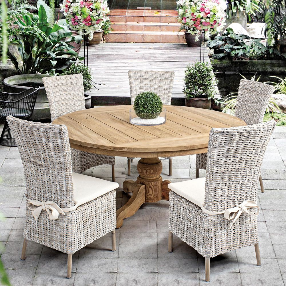 bali table en teck avec plateau rond mesurant 160 cm de. Black Bedroom Furniture Sets. Home Design Ideas