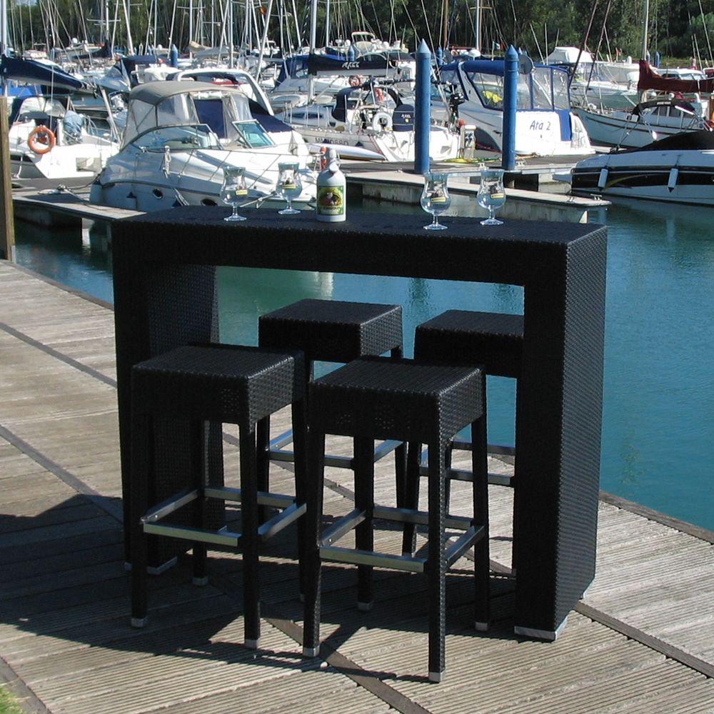 Ar bt juego de jard n en aluminio y s mil rat n con mesa alta y 4 taburetes para exteriores - Mesa alta con taburetes ...