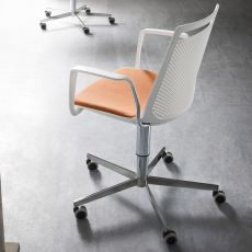 Akami Office - Metal chair with wheels, swivel and adjustable, technopolymer seat, with or without armrests, available in different colours