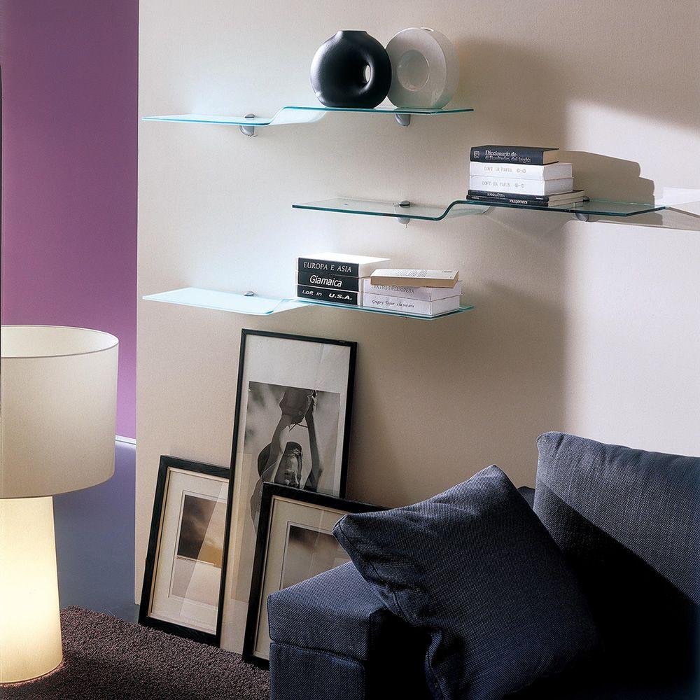 Wing mensola di design bontempi casa in vetro sediarreda - Mensole in vetro per soggiorno ...