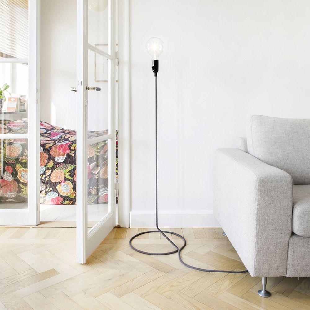Cord: Design floor lamp, textile cord on steel tube - Sediarreda ...