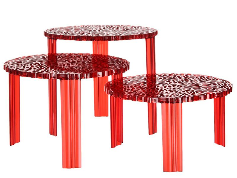 T Table Design Kartell Coffe Table In Polymethylmethacrilate Available With Several Heights