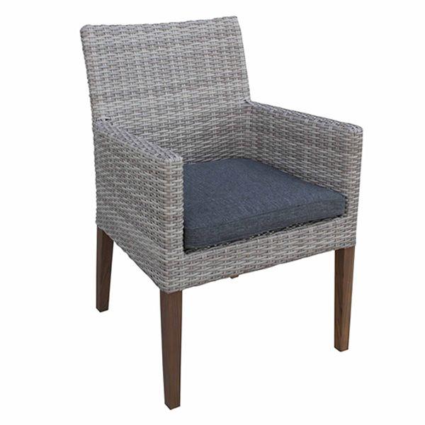 E90 fauteuil en bois de teck et imitation rotin garanti - Coussin pour fauteuil de jardin en teck ...