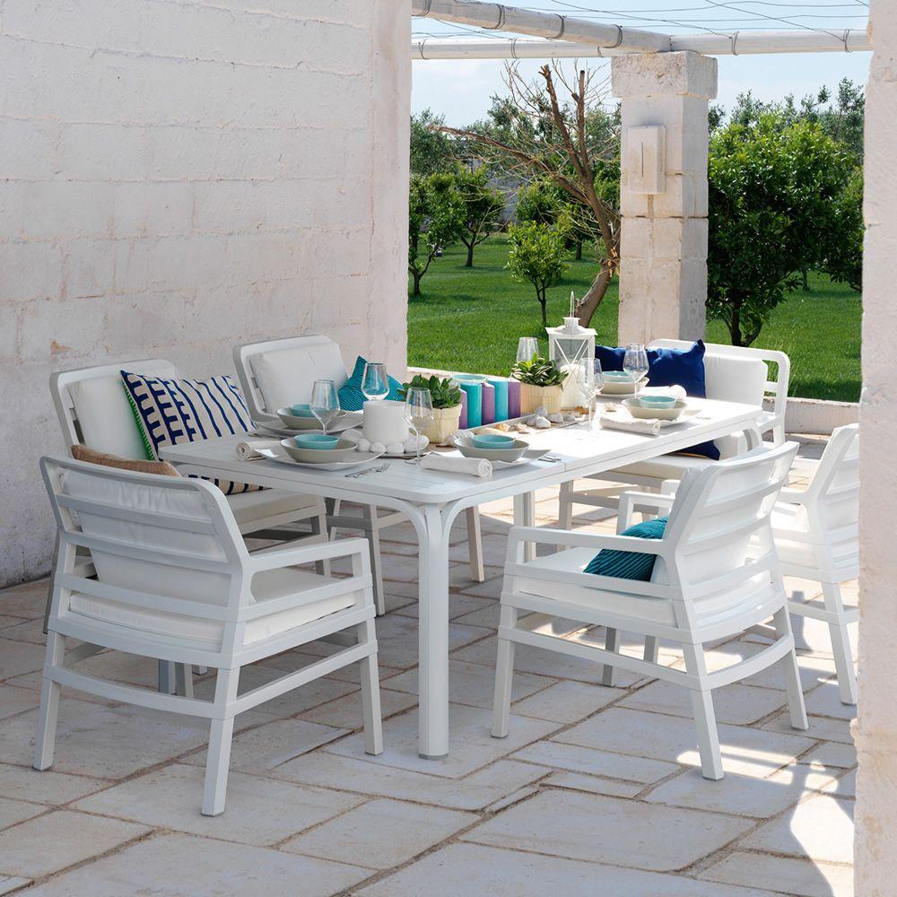 Alloro table rallonge en m tal plateau en r sine en - Plateau pour table de jardin ...