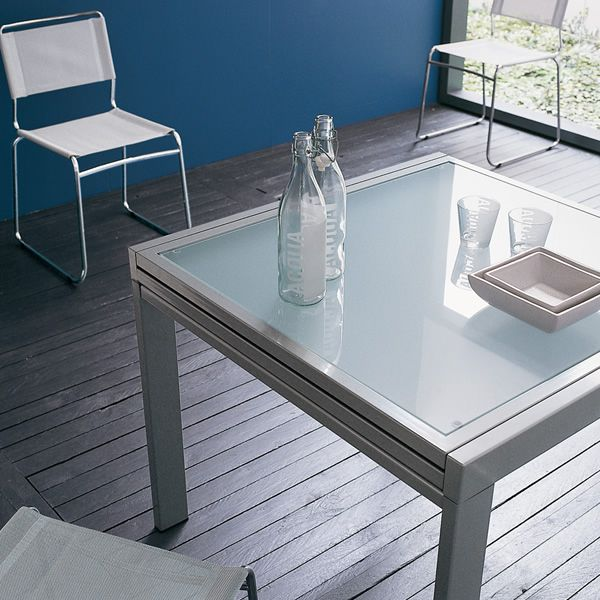 Vr90 mesa extensible de metal con sobre de cristal 90 x for Tavolo vetro satinato