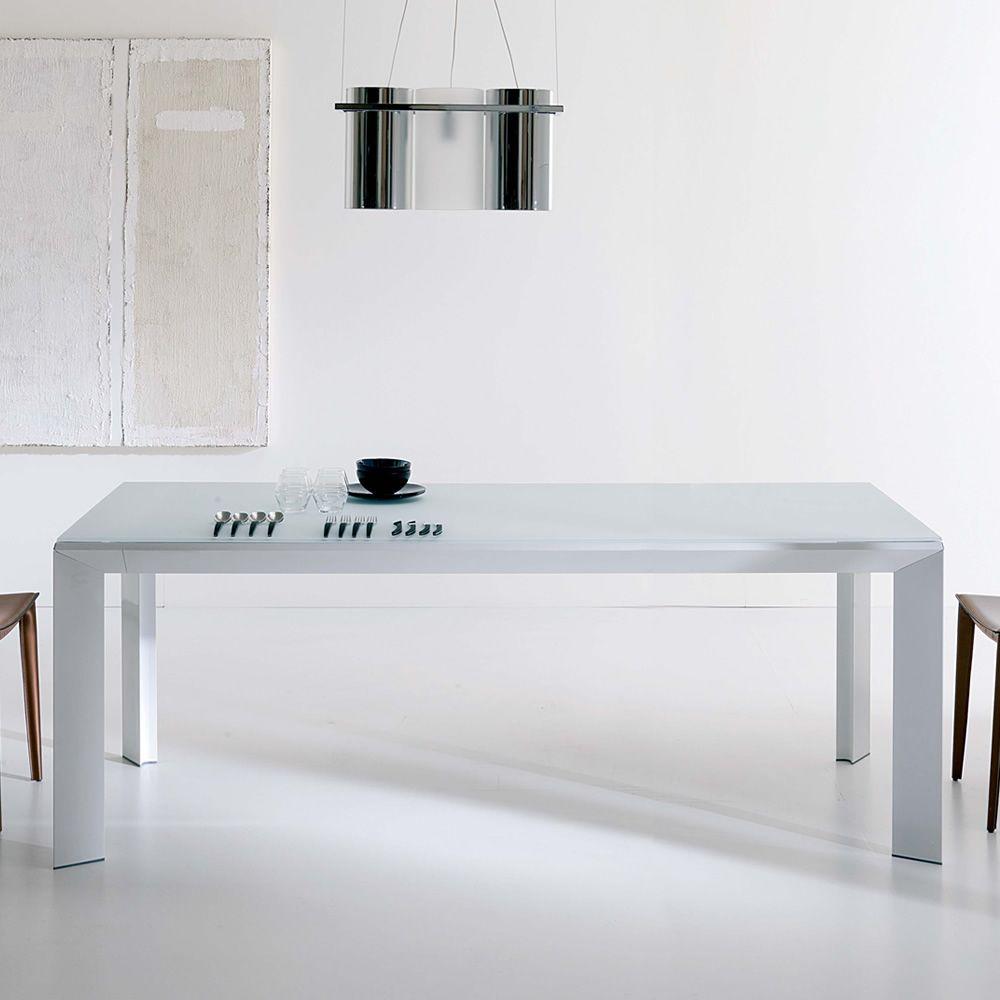 Metrò - Tavolo moderno in metallo, piano in cristallo 180x90 cm ...