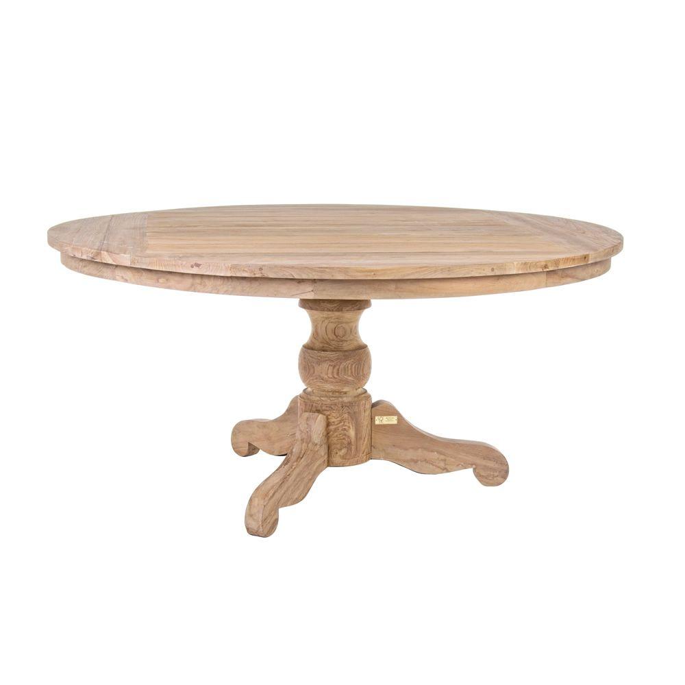 Bali table en teck avec plateau rond mesurant 160 cm de for Plateau pour table de jardin