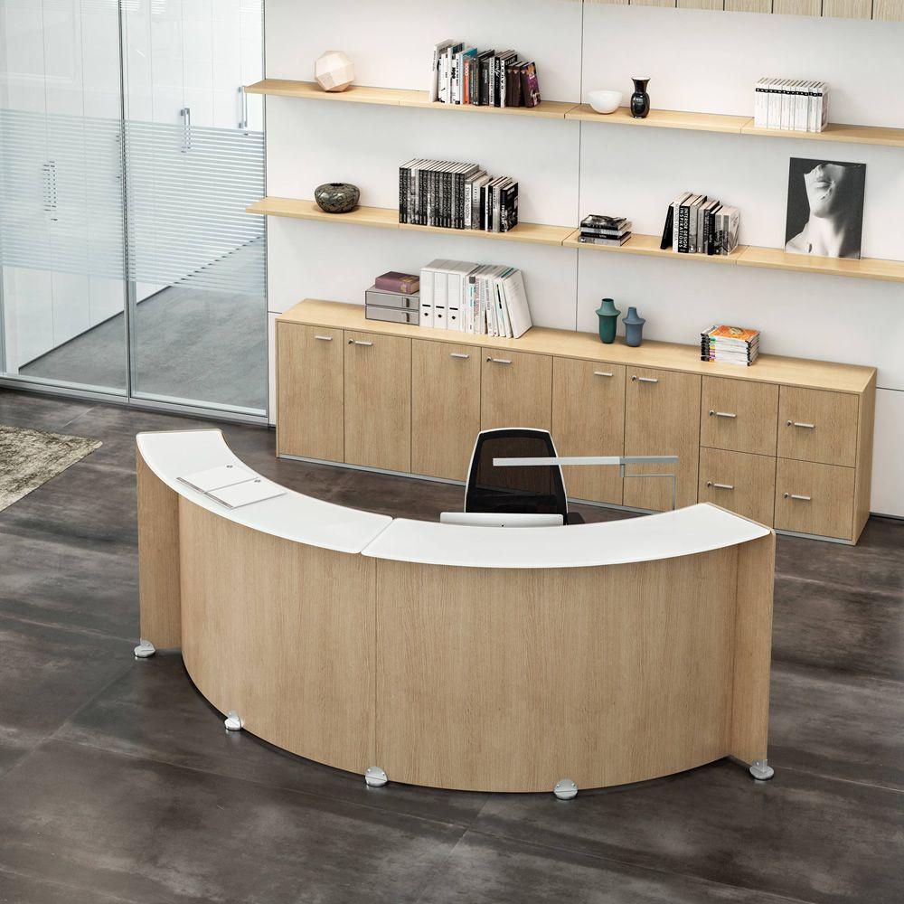 Reception Glass Desk In Oak Laminated Wood Accessories Silver Colour