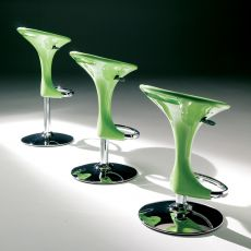 Discovery Off - Stool Bontempi Casa, swivel and height-adjustable, in metal with technopolymer seat, in different colours