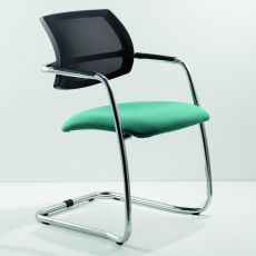 ML133 Slitta - Cantilever chair for waiting room, with net backrest and upholstered seat, different finishes available