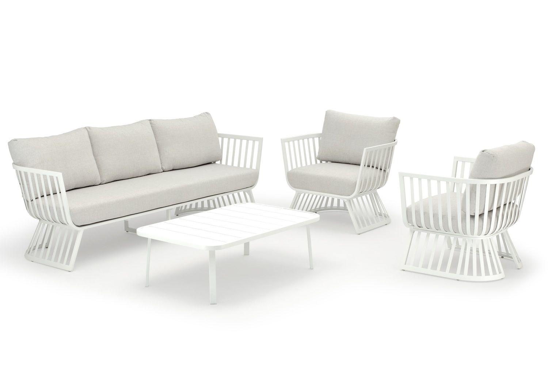 Aladin set para exteriores en aluminio con coj n en for Sofa exterior aluminio blanco
