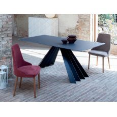 8011 Ventaglio - Tonin design table, metal base, glass top in several sizes and colours