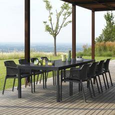 Rio - Extendable table made of metal, 210x100 cm resin top, for garden