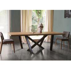 Mood - Tavolo in metallo Colico Design, piano in rovere, disponibile in diverse misure