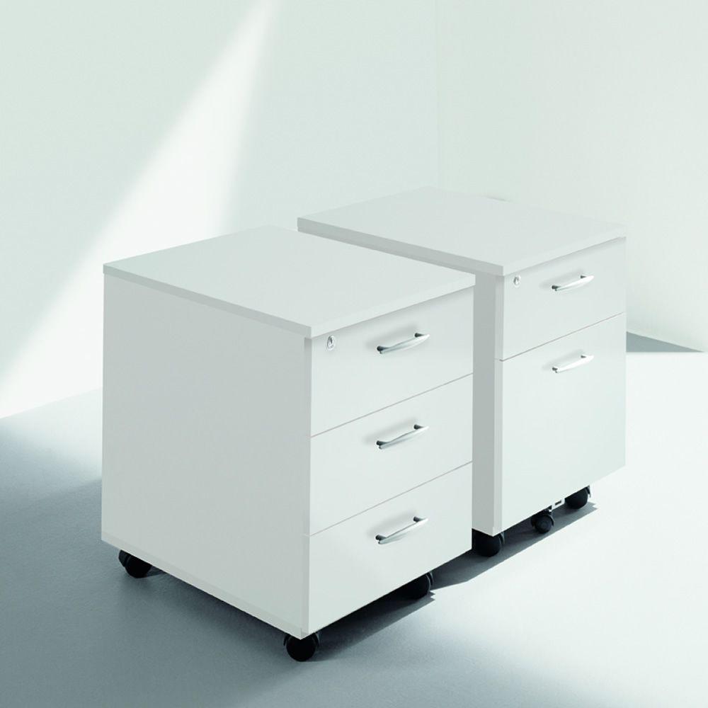 cassettiera wood kleiner schubschrank f r das b ro aus laminat mit gummirollen und zwei oder. Black Bedroom Furniture Sets. Home Design Ideas