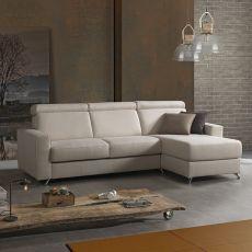 Oleandro-A - Divano a 3 posti o 3 posti XL, con penisola contenitore, completamente sfoderabile, diversi rivestimenti e colori disponibili, poggiatesta reclinabili, anche divano letto
